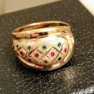 Jewelry - 14K Red, Blue & Green Rinestone? Dome Ring